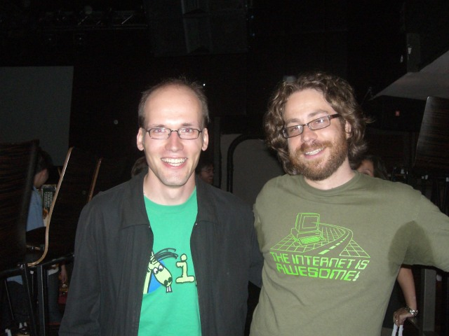 Jutze and Jonathan Coulton after JoCo's concert at the Highline Ballroom, NYC (2008-06-21)