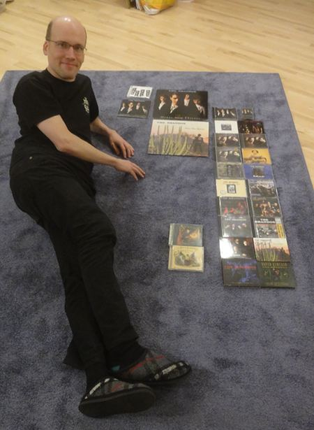 Johannes with his collection of Brandos albums title=